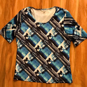 Alia Blue And White Patterned Sheer T Shirt